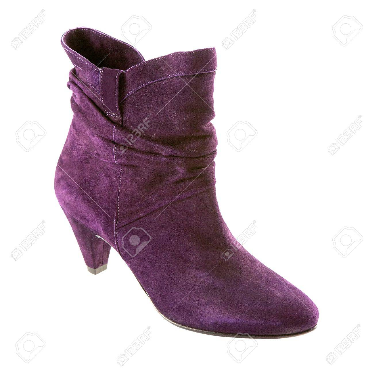 Purple Suede High Heel Boots