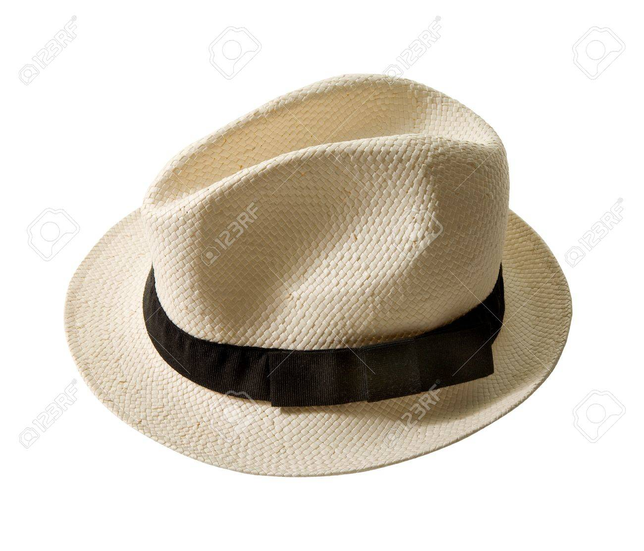 Raffia fedora hat with black band isolated on white background Clipping  path included Stock Photo - 740cc0374cc