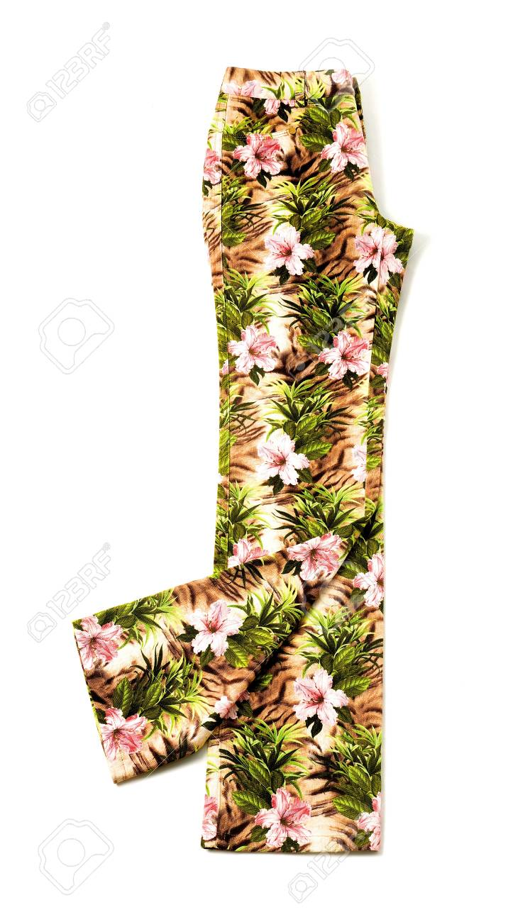 Pink Flowers Pattern Colorful Denim Pants Isolated On White