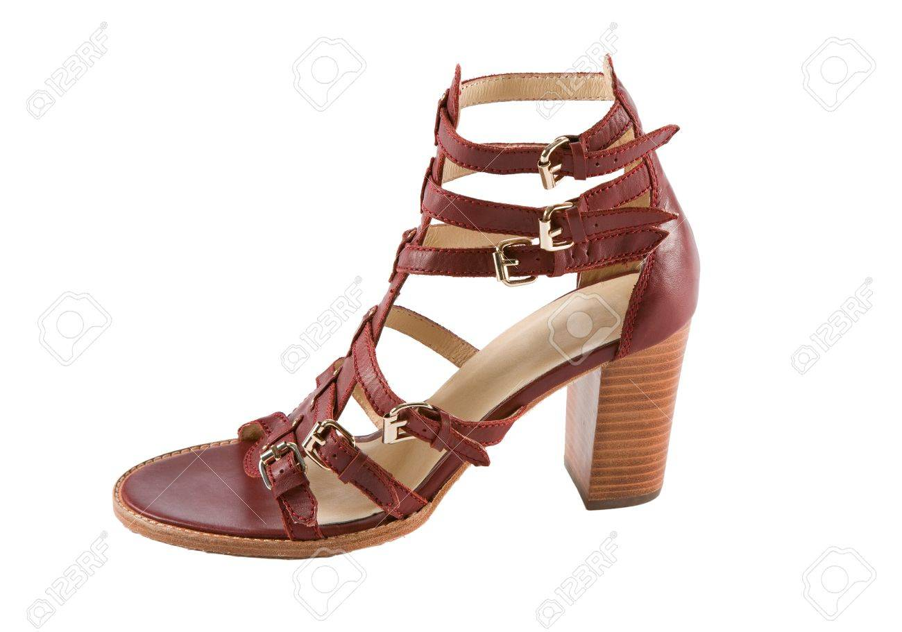 Maroon high heel ankle boot leather roman sandal isolated on white background  Clipping path included Stock Photo - 19686021