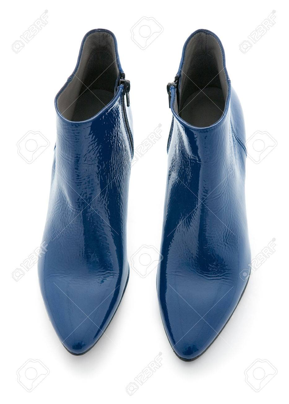 Blue Shiny Patent Leather Zipped Ankle