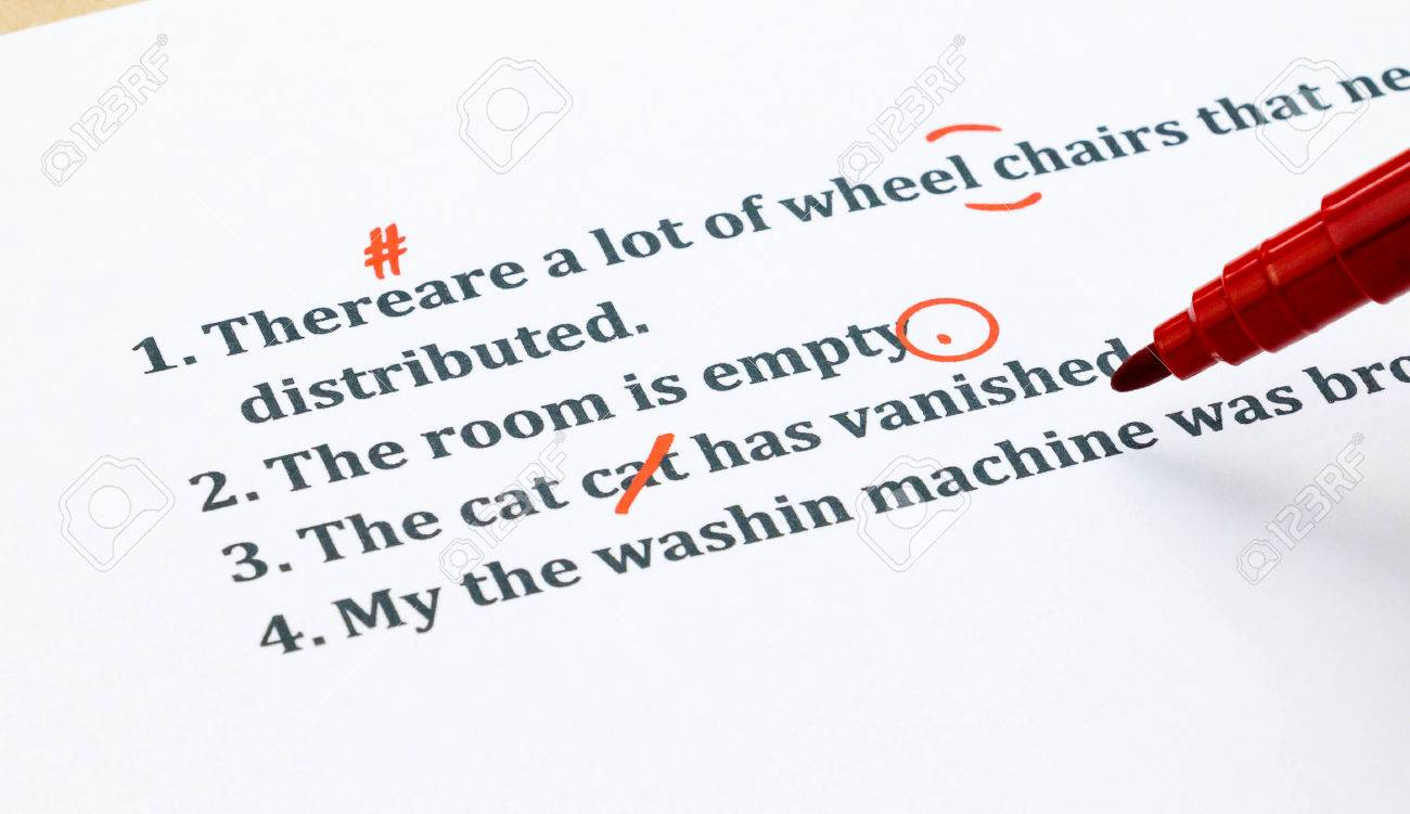 Proofreading sentences