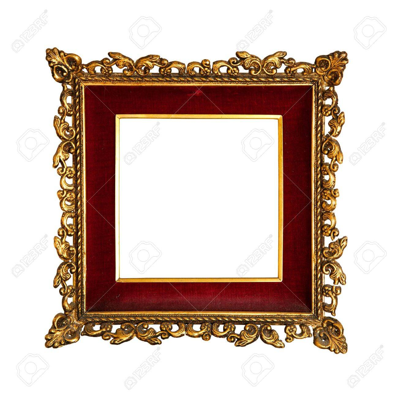 old  golden retro frame, with red velvet, baroque style Stock Photo - 9657178