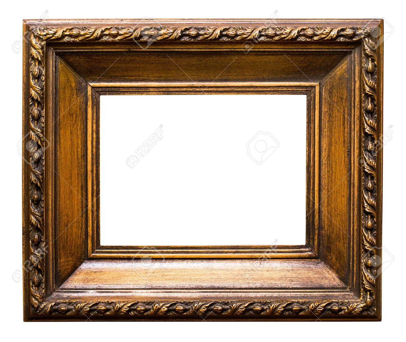 Old Golden Retro Mirror Frame No 24 Isolated On White Background ...