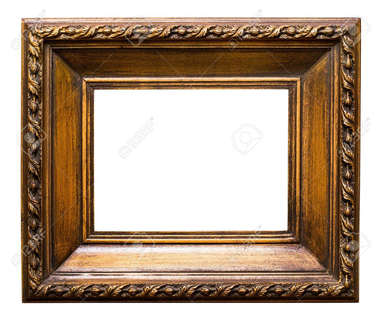 Oude Gouden Retro Spiegel Frame Nr. 24 Geïsoleerd Op Witte ...