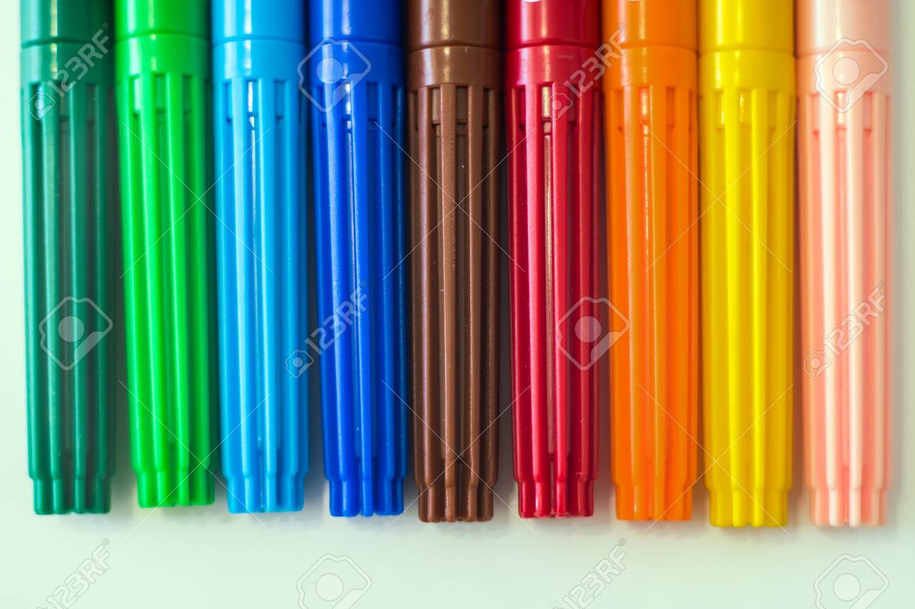 Coloring Markers In Different Colors, Close Up On White Background ...
