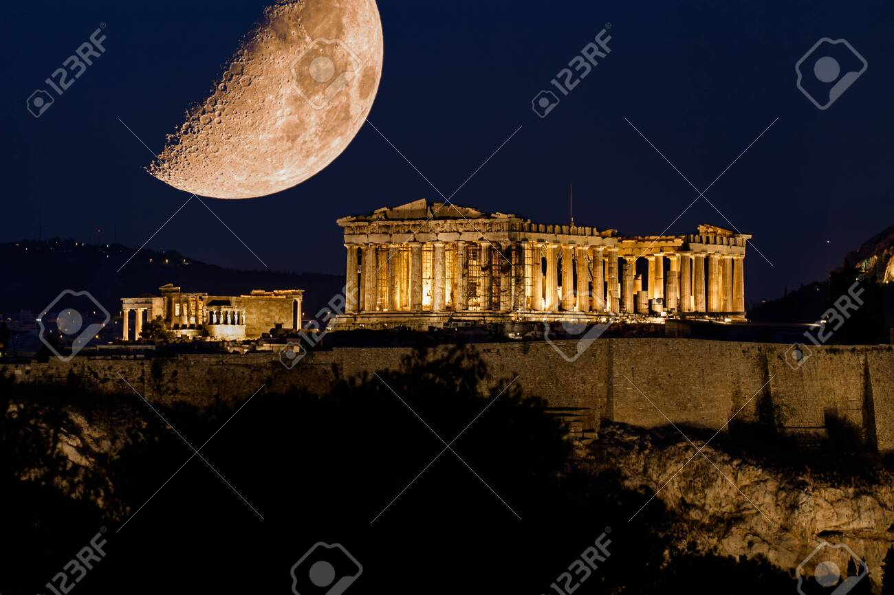 Parthenon of Athens under a huge magnificent moon, at dusk time, Greece - 146480732