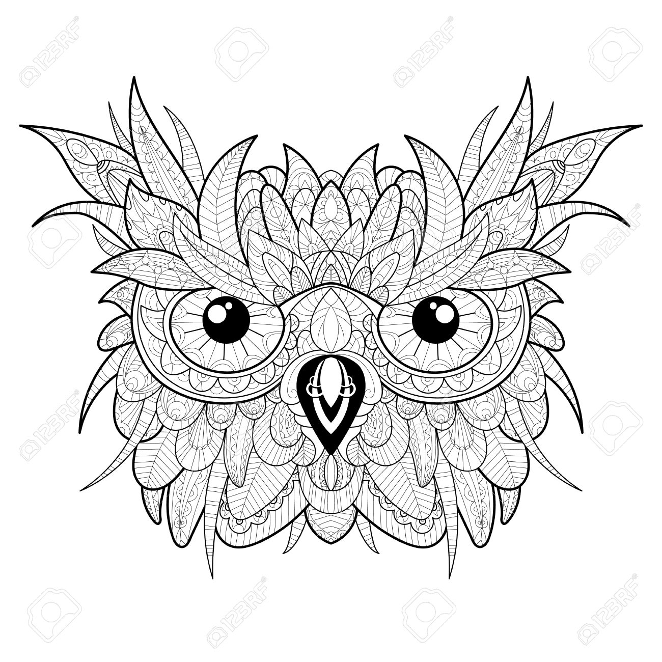 Hand Drawn High Detailed Owl Head For Adult Coloring Page Stock Vector