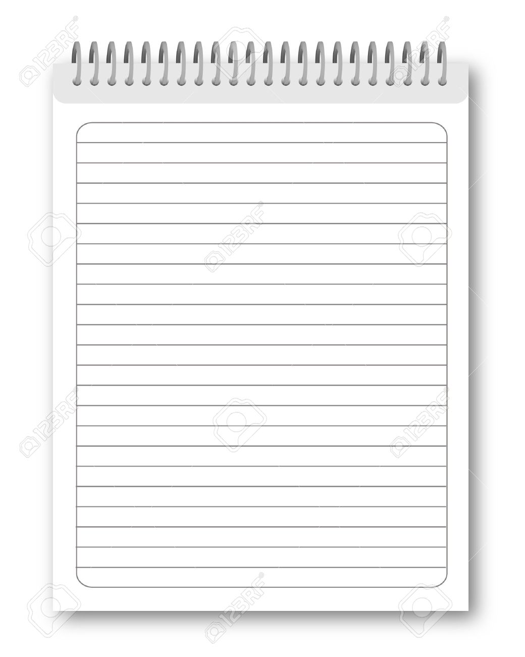 blank spiral notebook isolated on white background. illustration