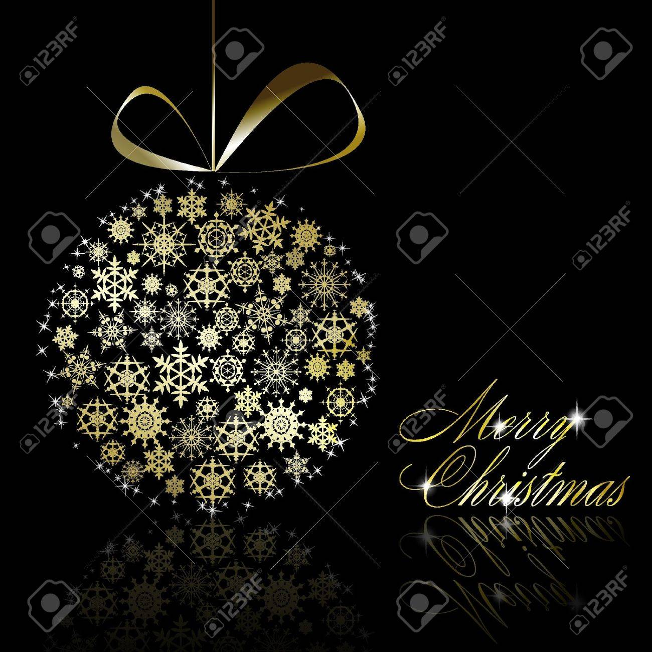 Golden Christmas ball made of gold snowflakes with stars on black background. illustration - 8687395