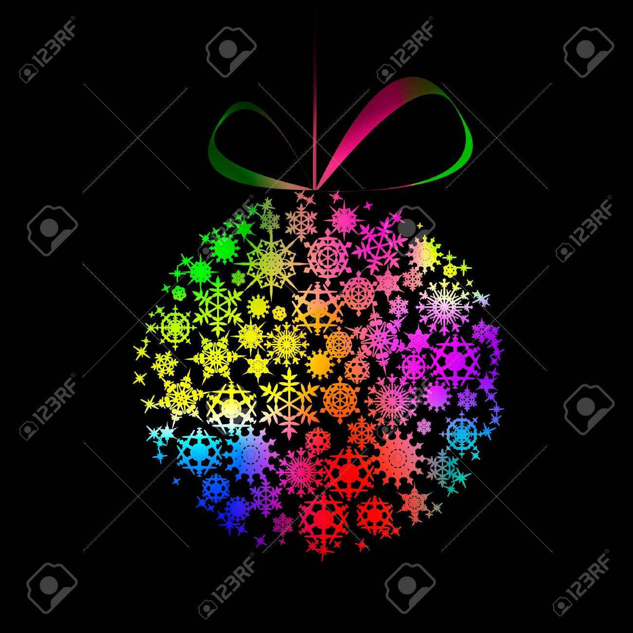 Multicolored Christmas  ball made of snowflakes and stars on black background. illustration Stock Vector - 8687332