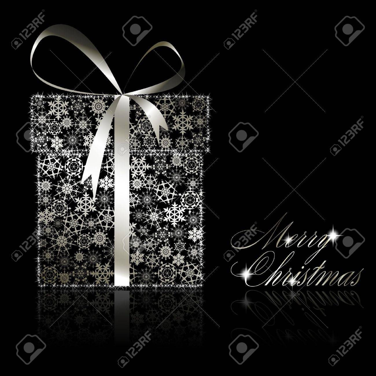 Silver Christmas gift box made of snowflakes and stars on black background.  illustration Stock Vector - 8687406