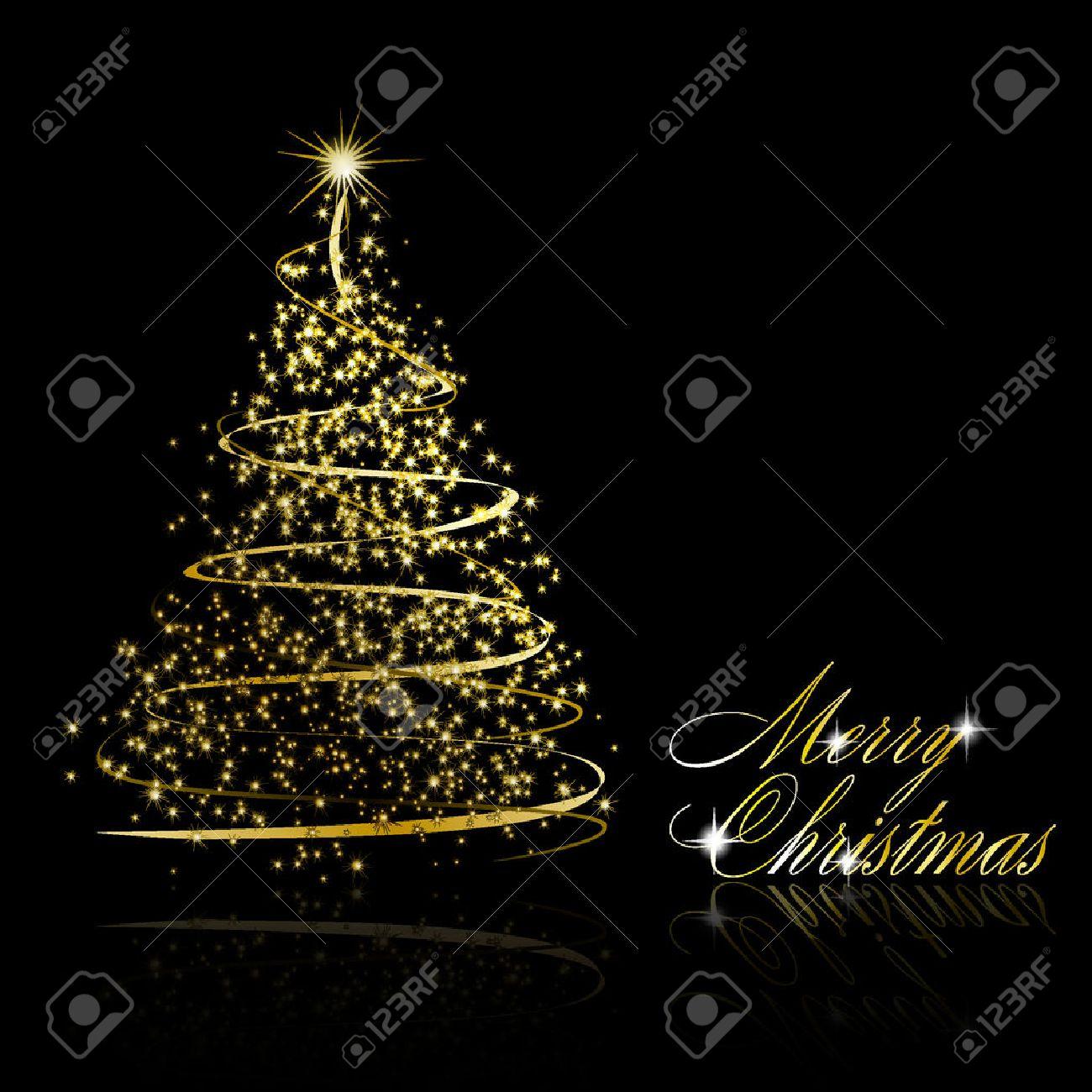 Abstract Golden Christmas Tree On Black Background Illustration