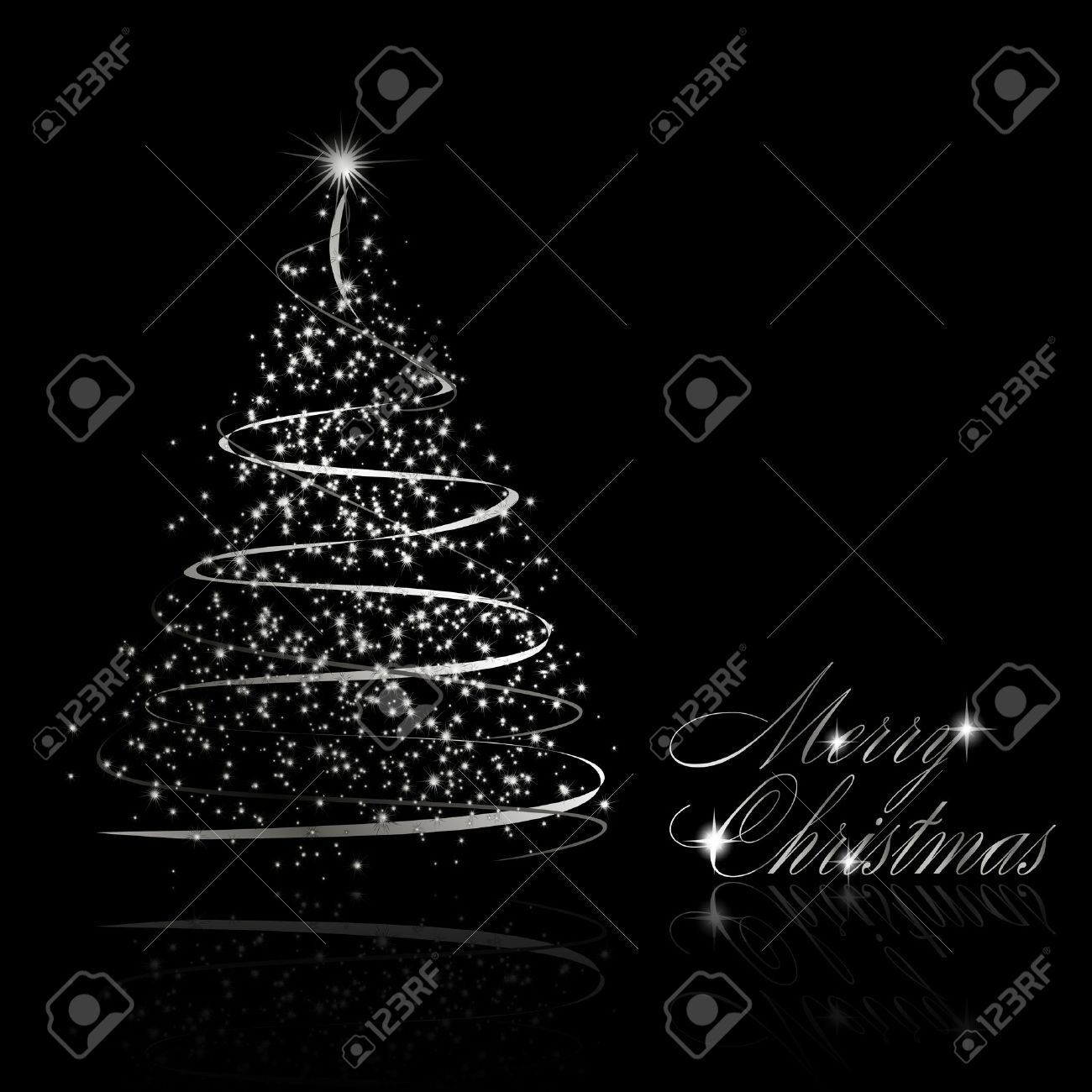 Christmas tree black and silver - Abstract Silver Christmas Tree On Black Background Stock Vector 8744607