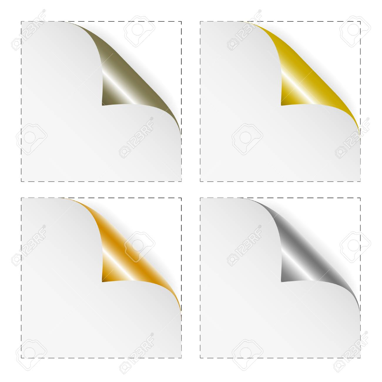 Set of white blank stickers with gold and silver corners. Stock Vector - 8744595
