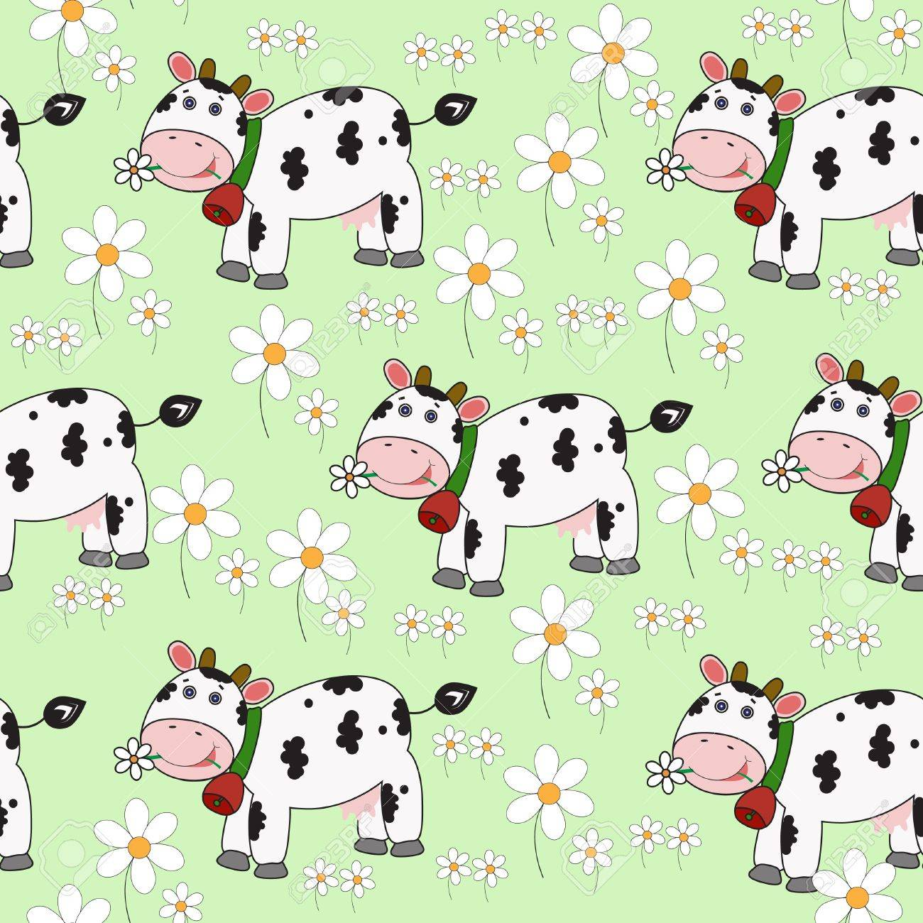 Seamless background with funny cow. Vector eps10 illustration Stock Vector - 8943823