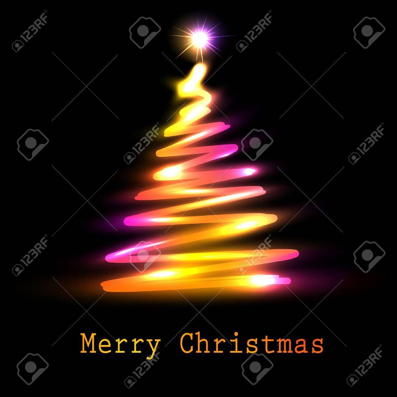 Christmas tree greeting card illustration Stock Vector - 11091395