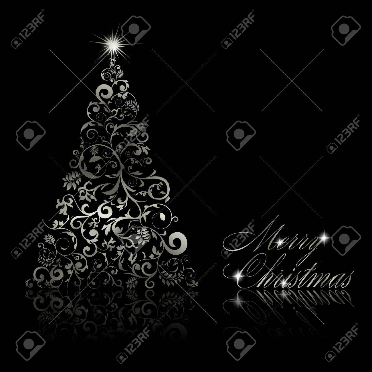 Christmas tree with swirls and floral elements on black background illustration Stock Vector - 11091383