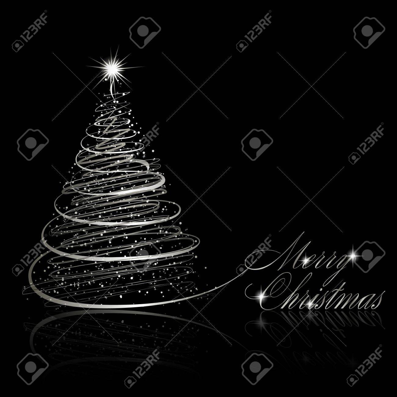 Silver Christmas tree on black background.  illustration Stock Vector - 11531534