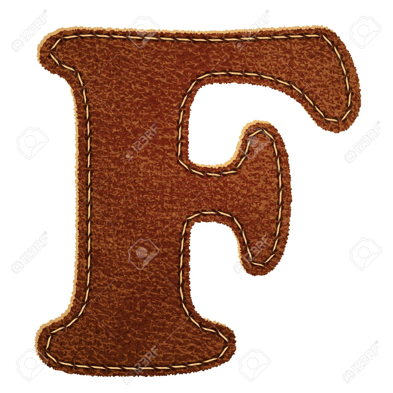 Leather Textured Letter F.