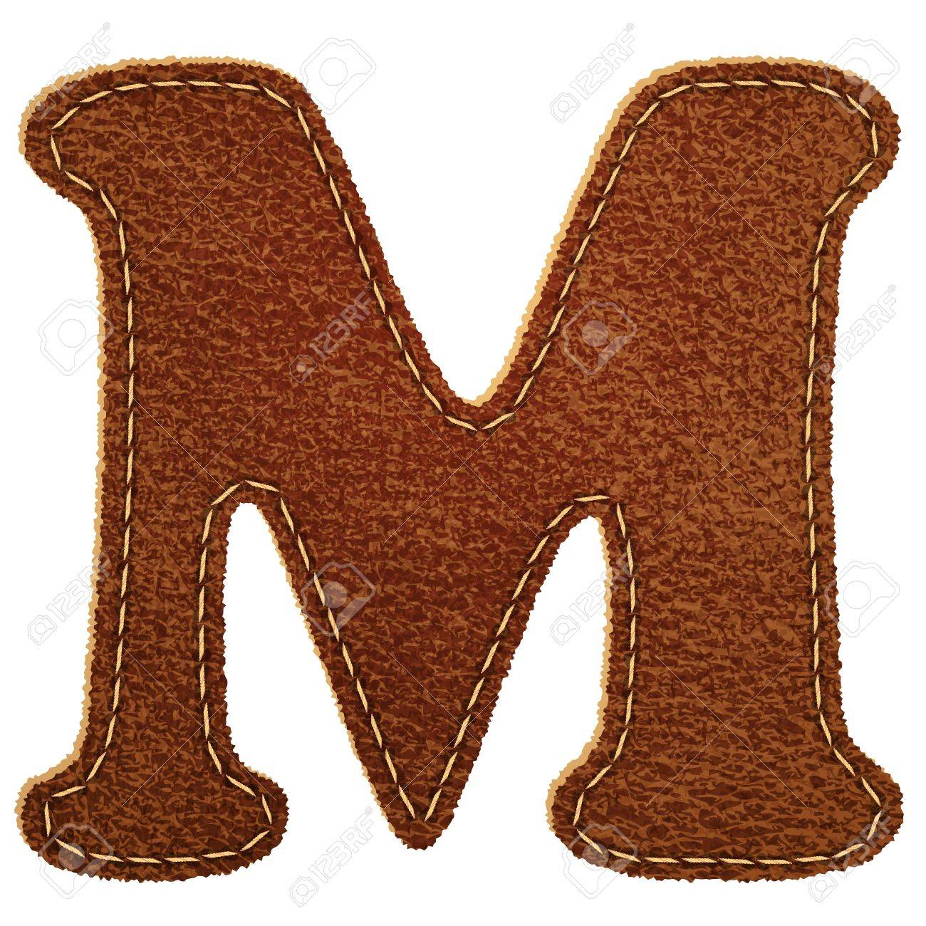 Leather alphabet. Leather textured letter M. Vector eps10 background Stock Vector - 13228589