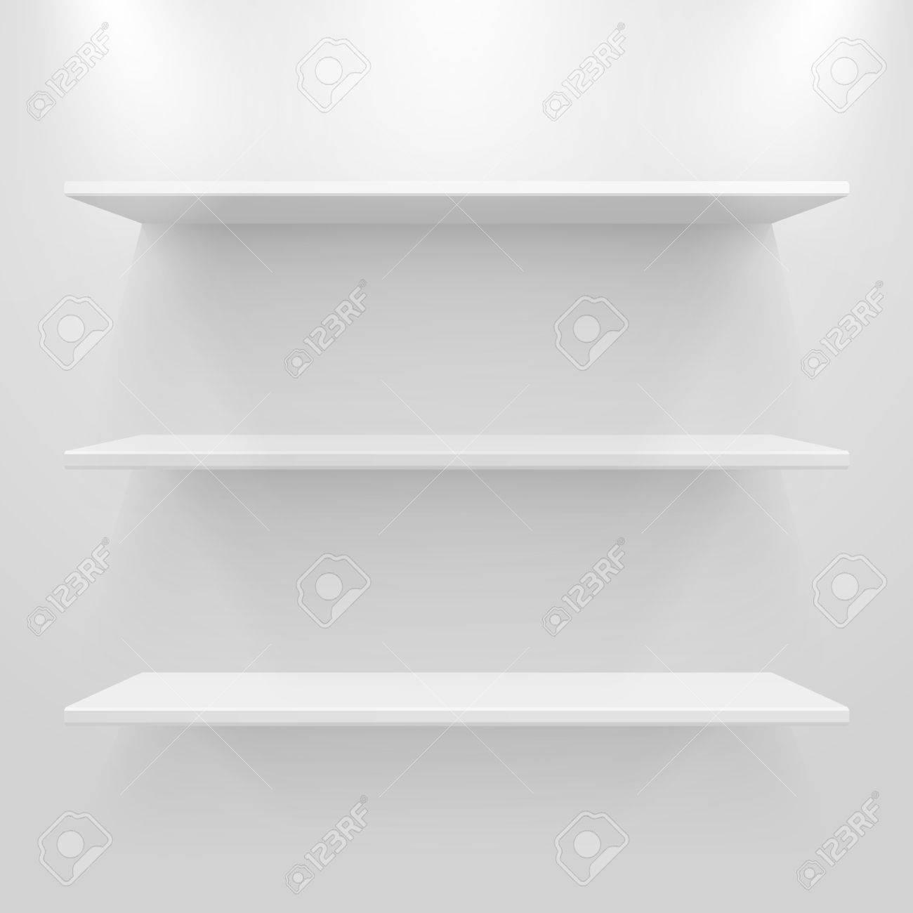Empty white shelves on light grey background. Stock Vector - 14329069