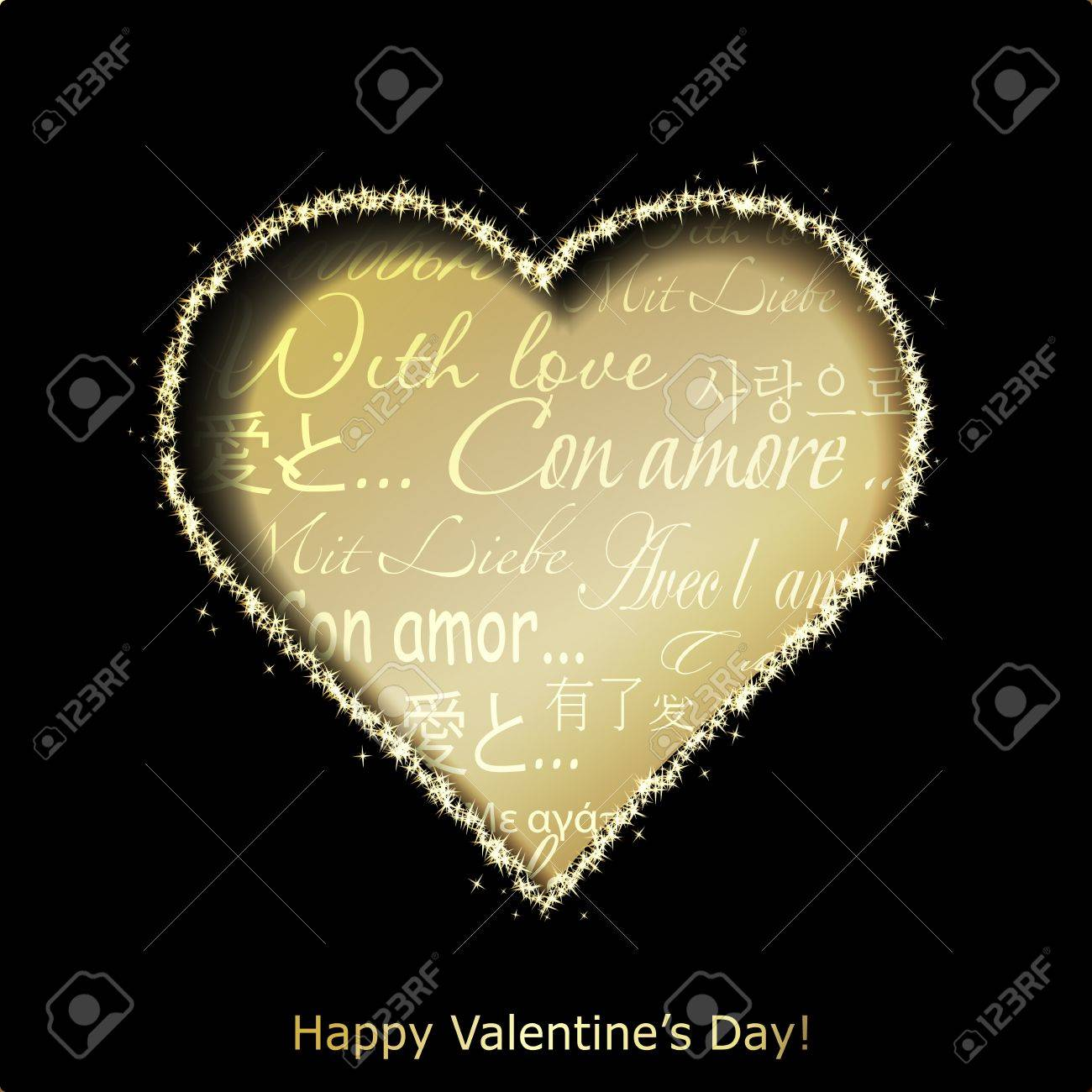 Abstract golden heart cutted from black paper background  Valentines day greeting card  illustration Stock Vector - 17560335