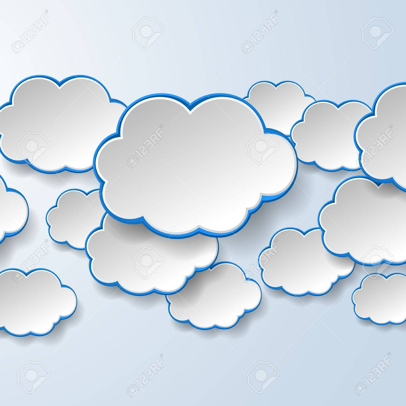 Abstract white paper speech bubbles on light blue background. Cloud services concept. Stock Vector - 18405680