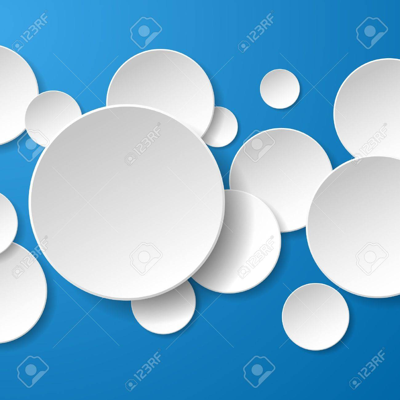 Abstract white paper circles on blue background. Stock Vector - 18991585