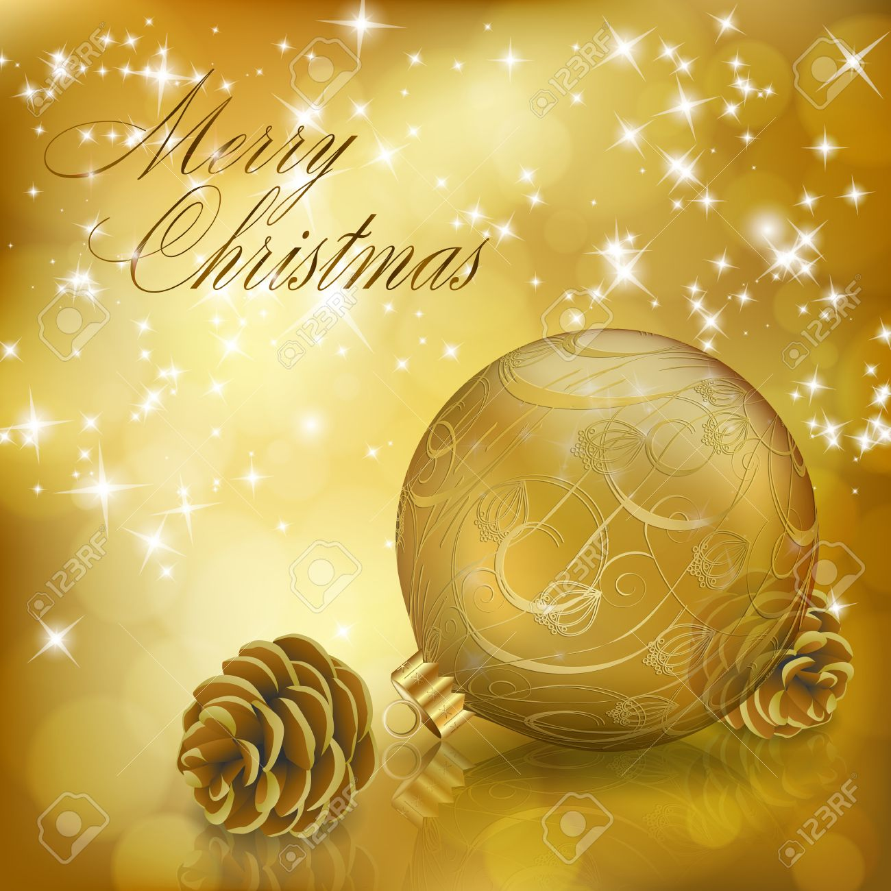 Golden Xmas Greeting Card With Gold Christmas Ball And Cones ...