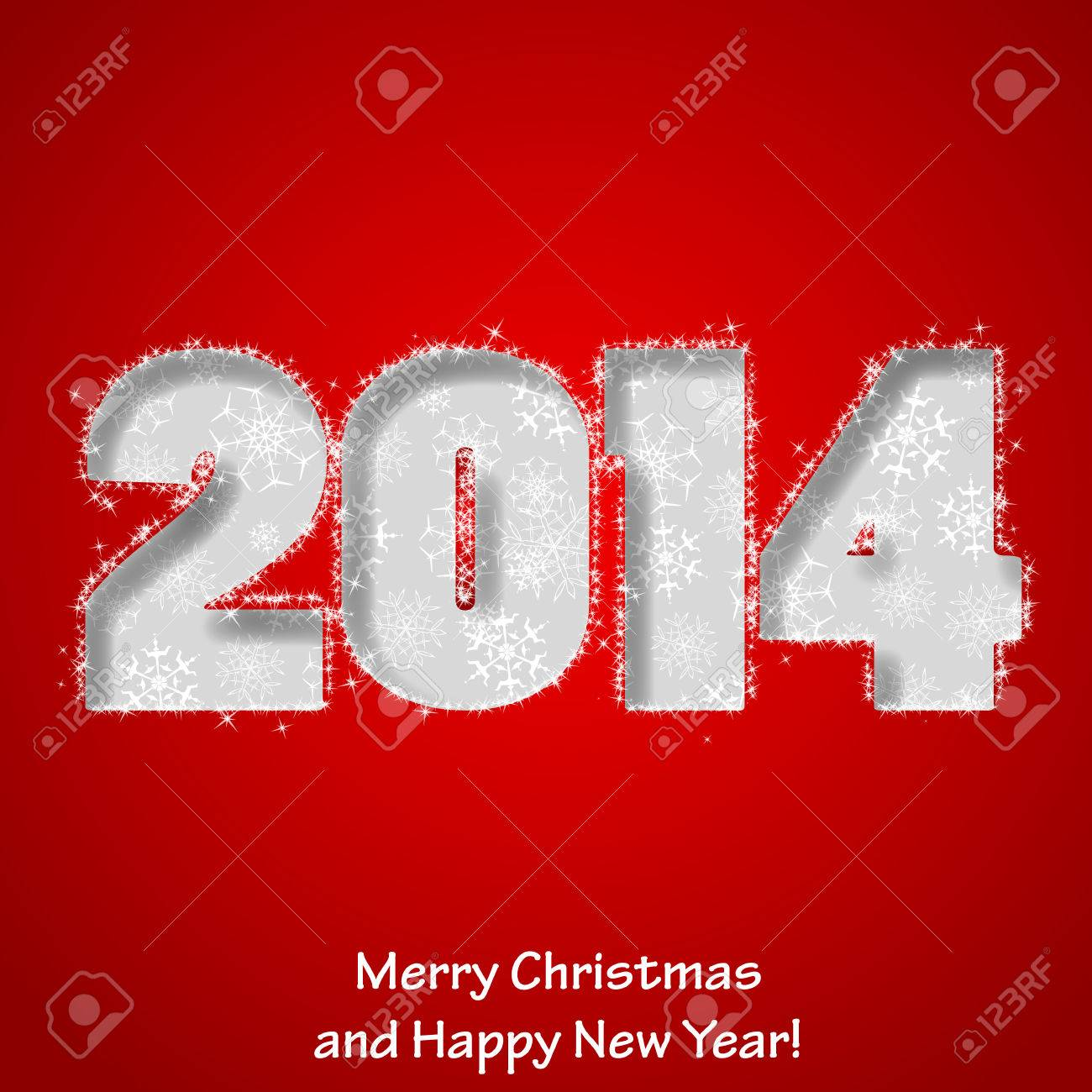 Modern Merry Christmas and Happy New Year greeting card. Stock Vector - 23087218