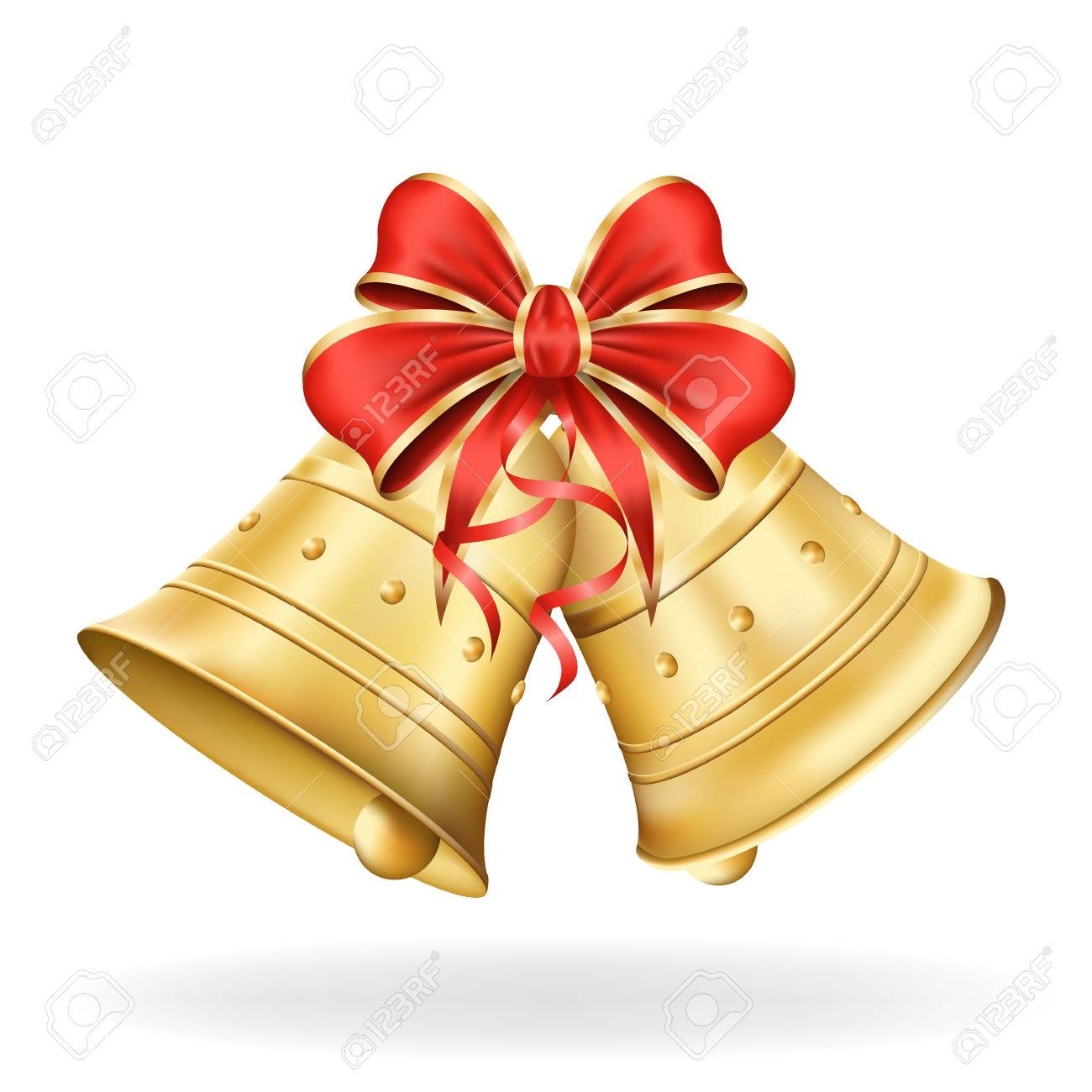 Christmas Bells Images.Christmas Bells With Red Bow On White Background Xmas Decorations