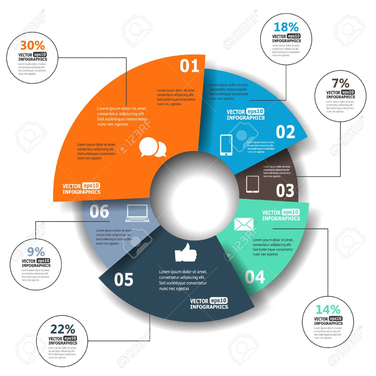 Pie chart stock photos royalty free business images modern paper infographics in a pie chart for web banners mobile applications layouts nvjuhfo Image collections