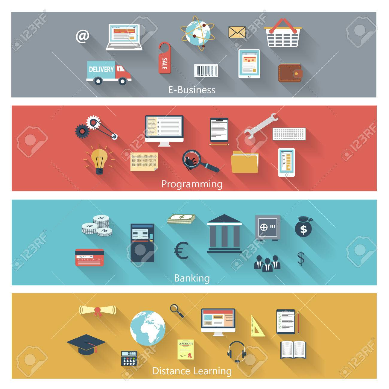 Set of modern concepts in flat design with long shadows and trendy colors for e-business, web, mobile applications, distance learning, banking, programming etc. Vector eps10 illustration Stock Vector - 27495864
