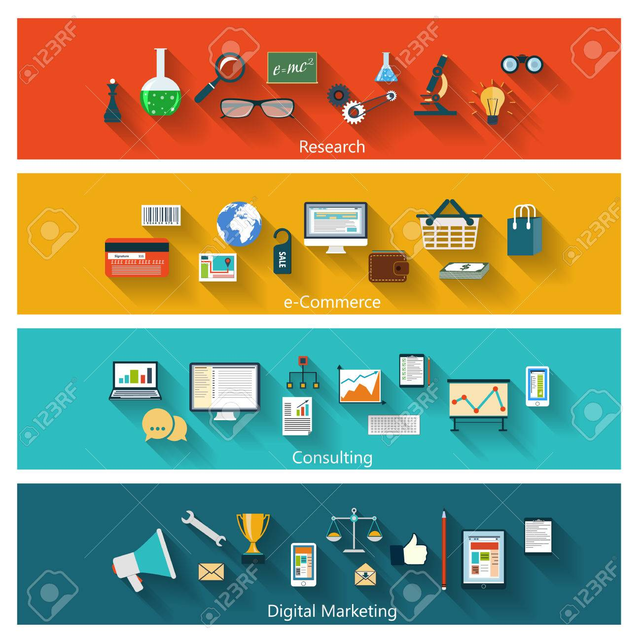 Set of modern concept banners in flat design with long shadows and trendy colors for web, book covers, corporate brochures, logos, mobile applications, business, social networks etc. Vector eps10 illustration - 29726051