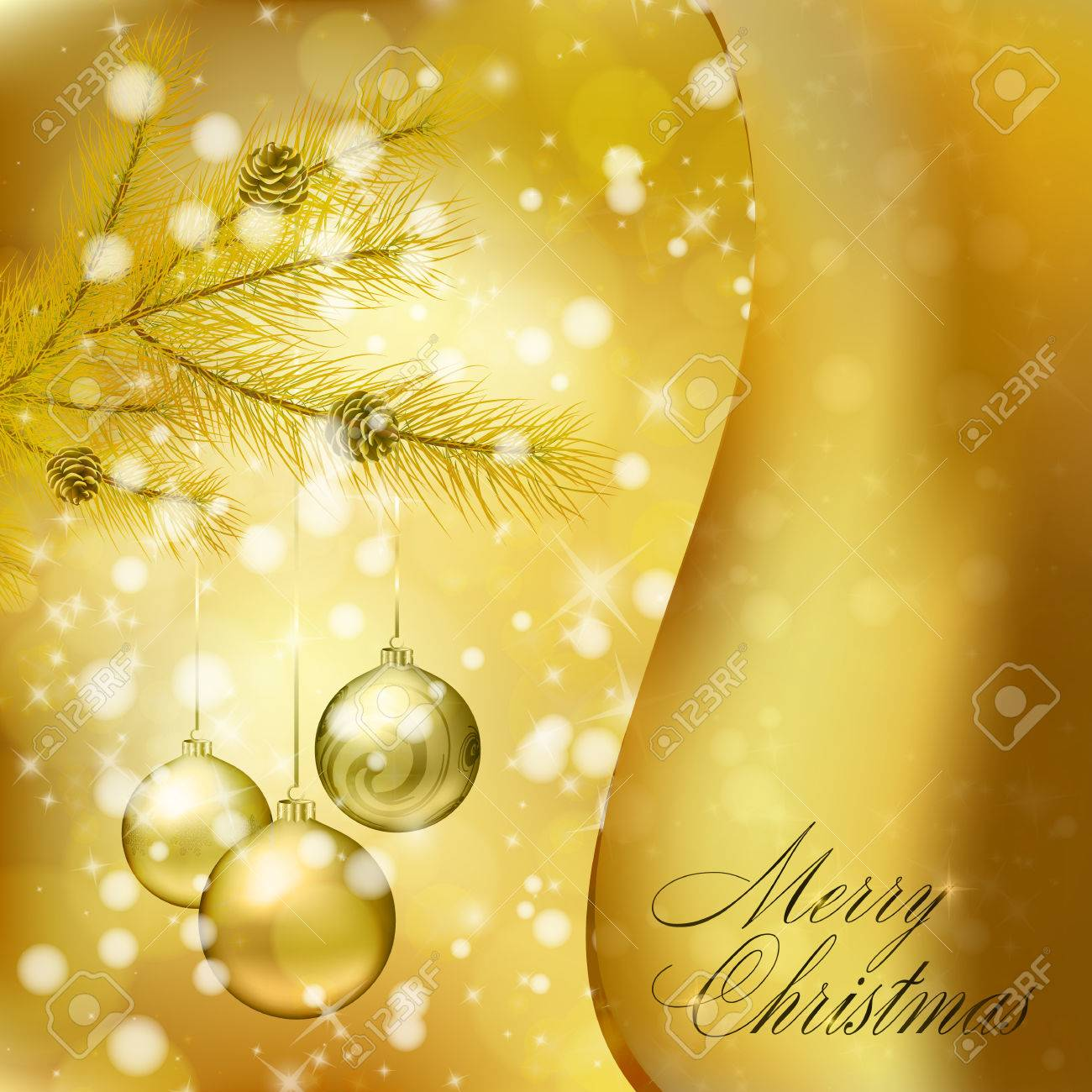 Golden Christmas Balls On Abstract Gold Background. Xmas Greeting ...