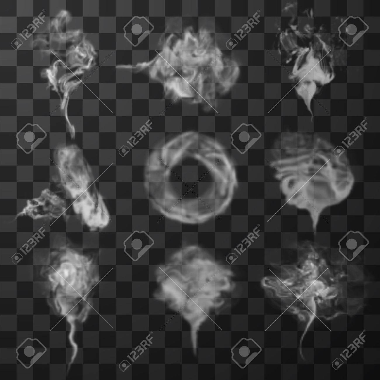Realistic transparent smoke waves set. Vector illustration - 50637468