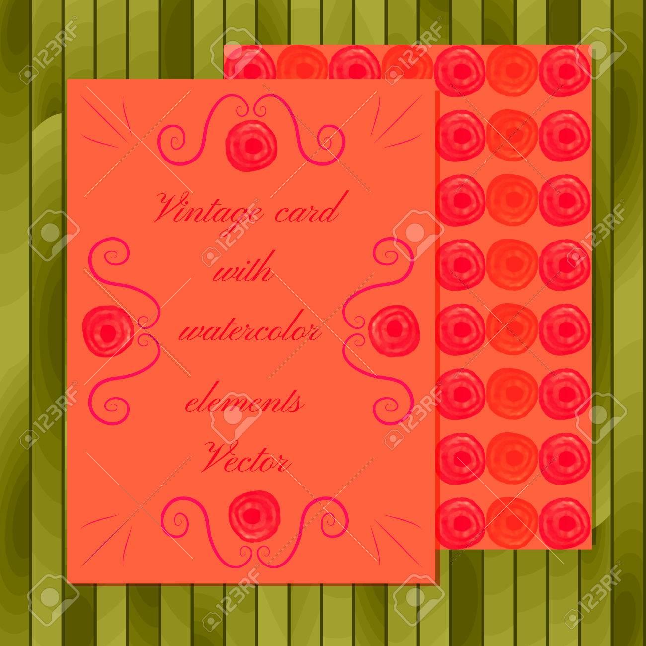 Watercolor Art. Vector Set Of Invitation Cards. Wedding Invitation ...