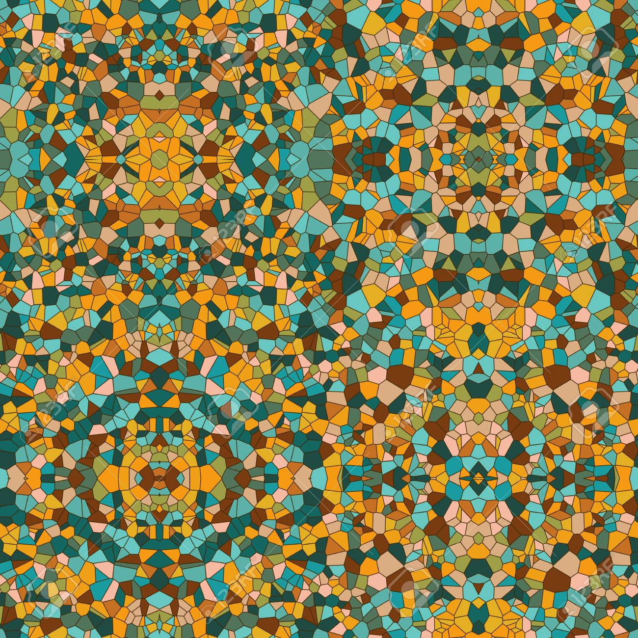 Mosaic Vector Seamless Pattern Stained Glass Texture Vintage