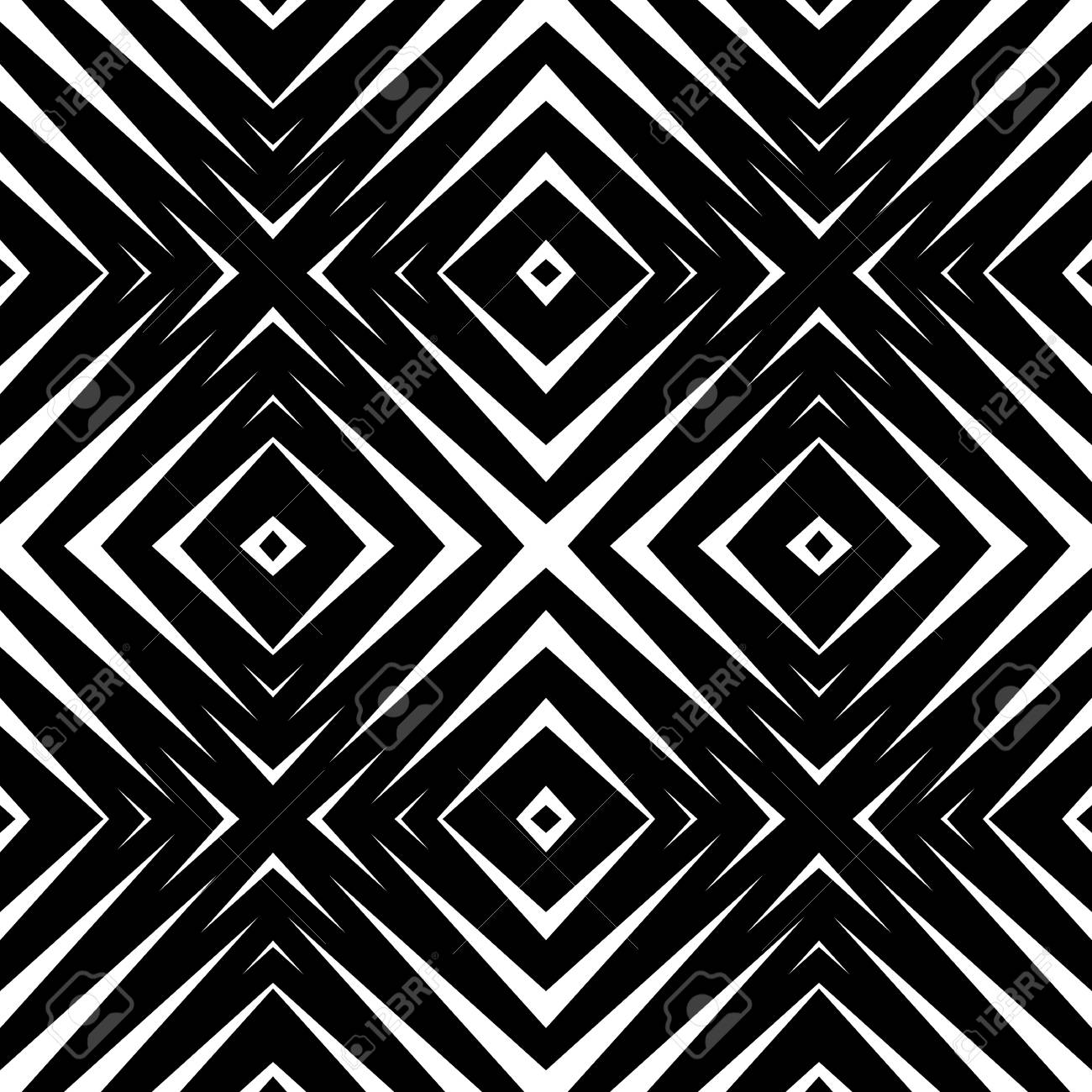 abstract geometric seamless pattern. simple black and white