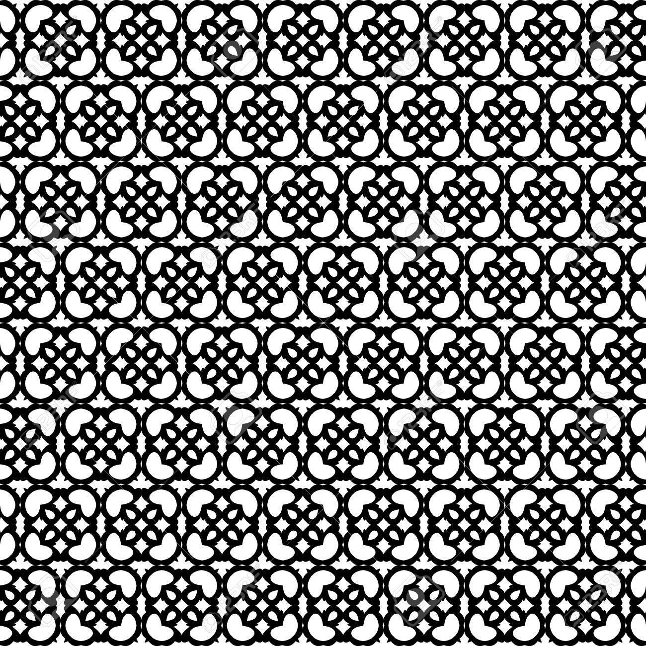 抽象的なシームレス パターン 黒と白の背景 ベクトルの図 クラシックなデザイン 黒のファンタジーの要素を持つ白の背景 レトロなシンプルな壁紙 のイラスト素材 ベクタ Image