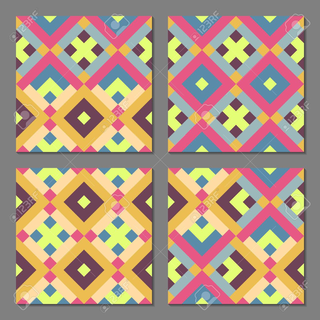 Set Of 4 Abstract Geometric Patterns Colorful Retro Seamless