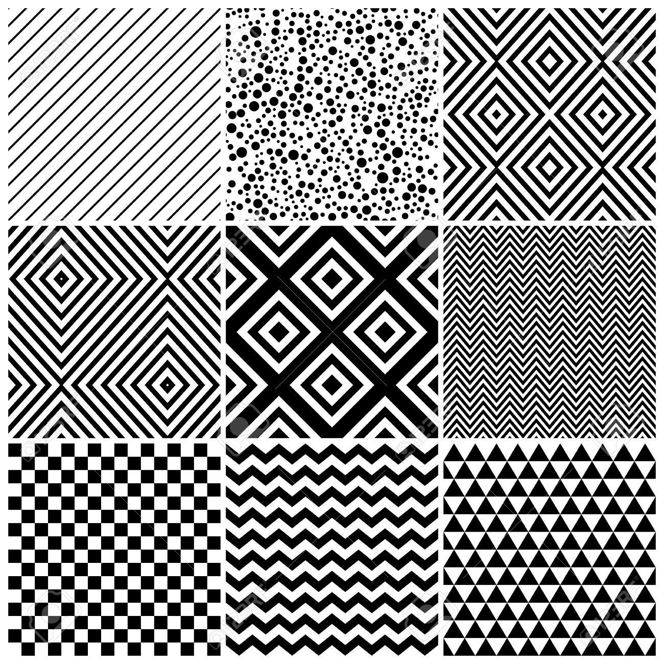 Satz Von 8 Abstrakte Geometrische Muster. Klassisches Schwarz-Weiß ...