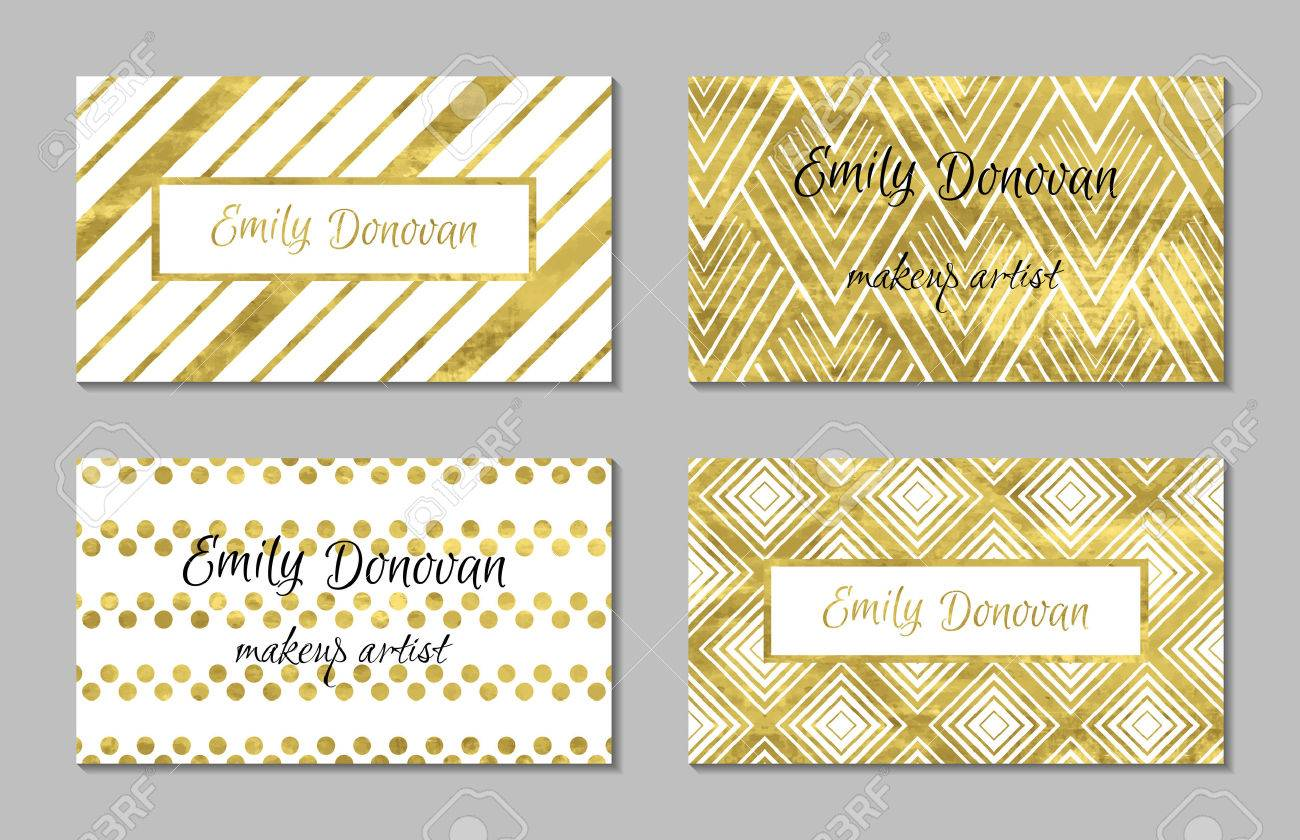 Set of gold business card template or gift cards texture of set of gold business card template or gift cards texture of gold foil luxury reheart Choice Image