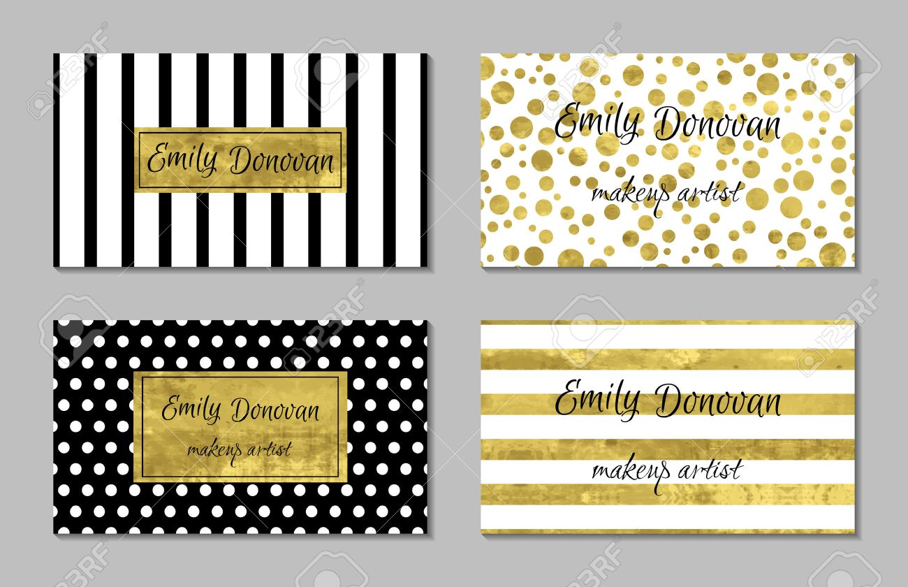 Set Of Gold Business Card Template Or Gift Cards. Texture Of ...