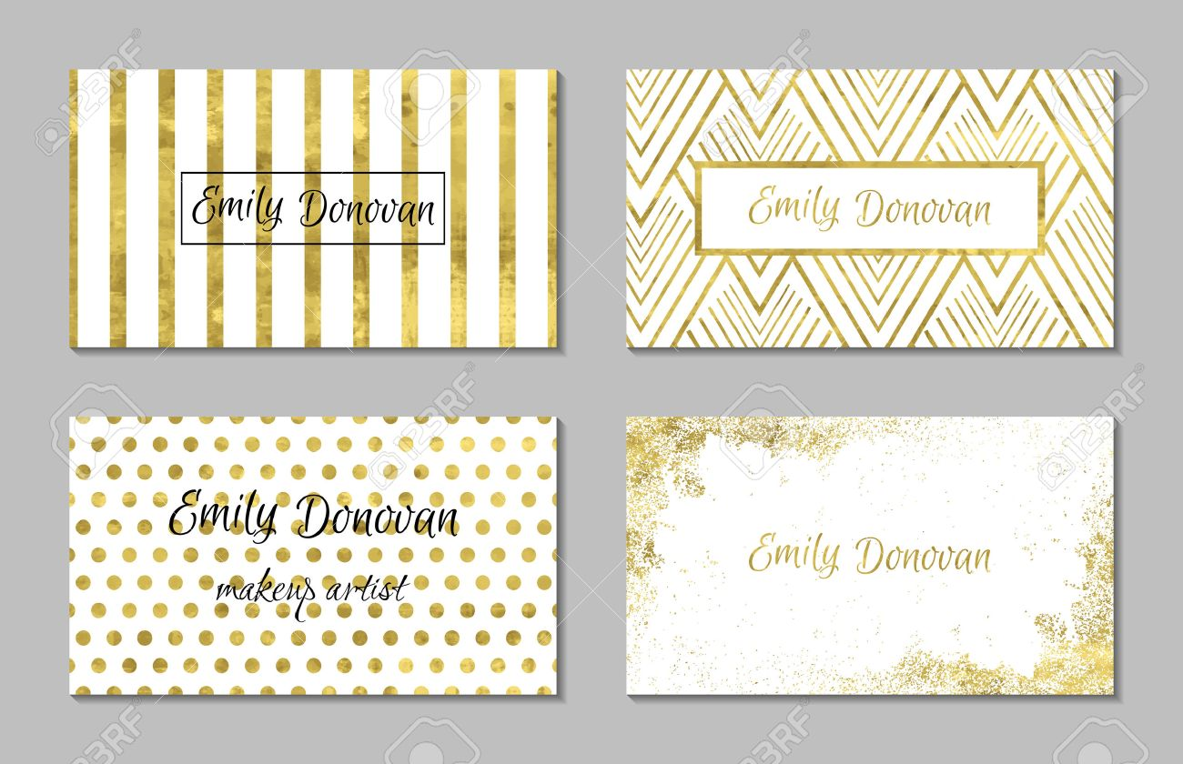 Set of 4 gold and white business card template or gift cards imagens set of 4 gold and white business card template or gift cards texture of gold foil luxury vector illustration easy editable template reheart Image collections