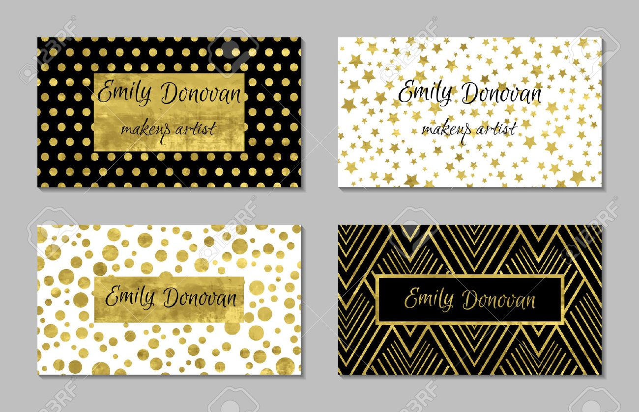 Set of 4 gold and white business card template or gift cards set of 4 gold and white business card template or gift cards texture of gold wajeb Choice Image