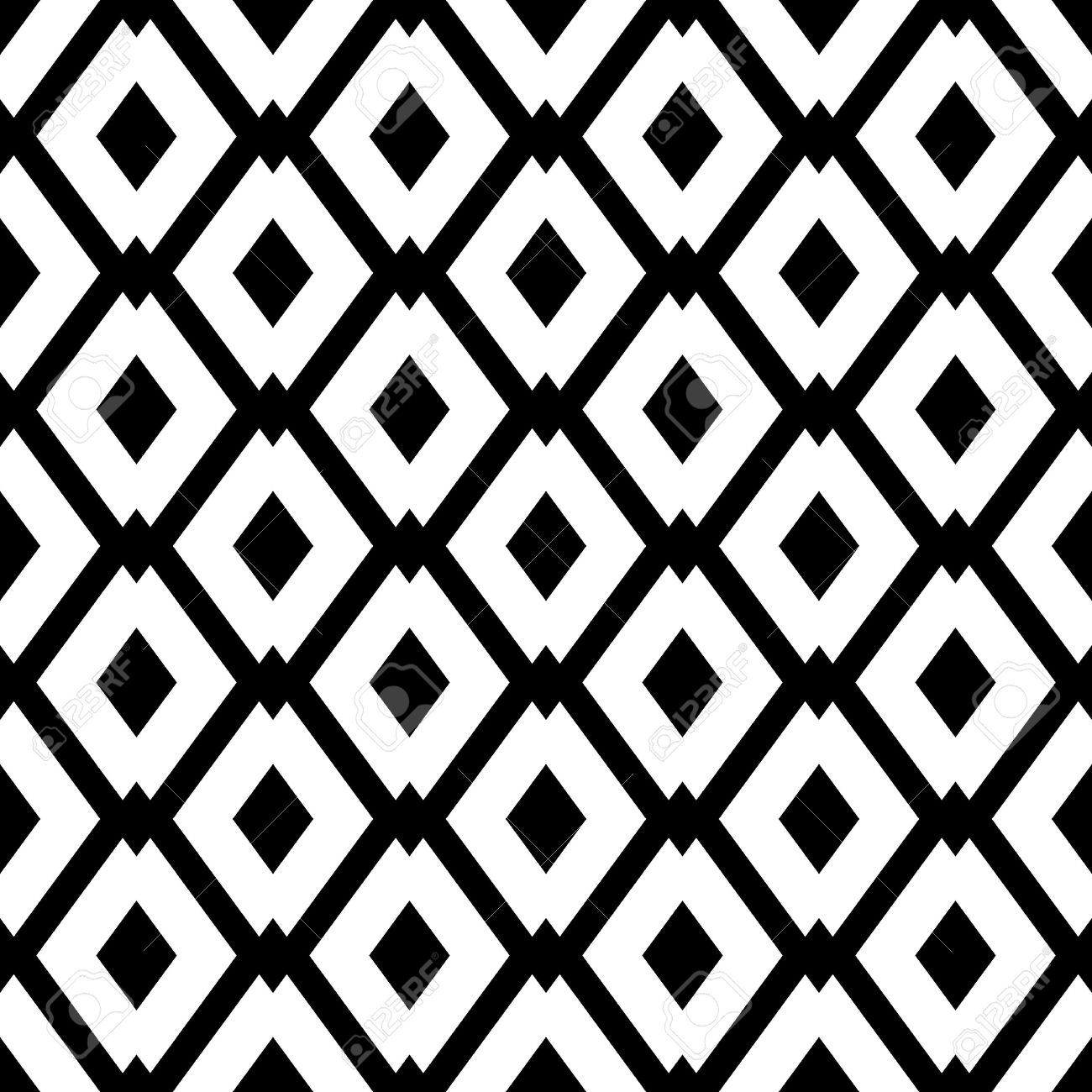 Abstract Geometric Seamless Pattern With Rhombus Simple Black