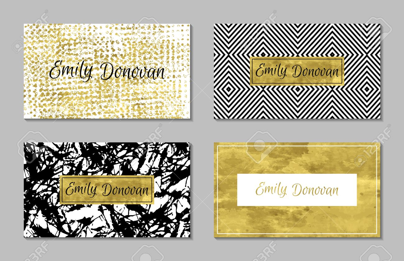 Set Of 4 Gold And White Business Card Template Or Gift Cards ...
