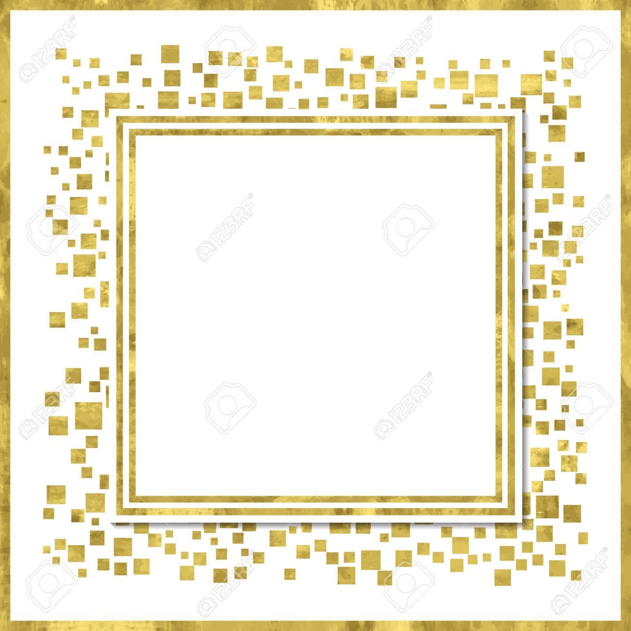 Abstrakte Moderne Plakat Mit Goldenen Quadrat Konfetti, Goldenen ...